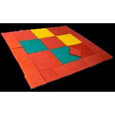 Цветная напольная резиновая плитка толщина 10 мм 100х100 см