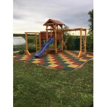 30 мм резиновая плитка Экоплитка уложенная на уплотненное песчаное основание - красивая детская площадка